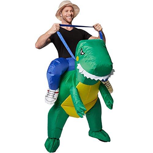 TecTake dressforfun Selbstaufblasbares Unisex Aufsitzkostüm Dinosaurier | Batteriebetrieben -