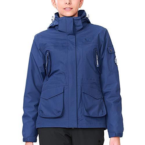 CAMEL CROWN Damen Ski 3-in-1-Jacke 2 Stück Outdoor Wasserdicht Winddicht Fleece Innen Kapuzenmantel (L, Dunkel Blau)