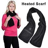 Sciarpa riscaldata con Pad riscaldante per Collo Riscaldamento USB Alimentatore Elettrico per Collo riscaldato per Uomo e Donna (Nero)