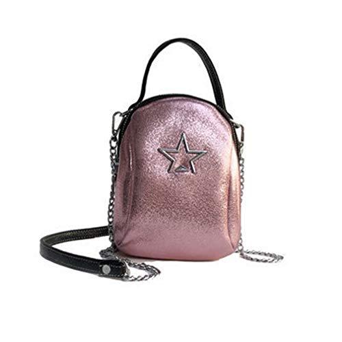 Pu Leder Umhängetasche Frauen Star Bag Pink 14cm8cm18cm