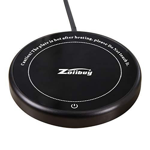 Zoiibuy Taza Calentador de Café Calentador de Taza y Taza Térmica de Vidrio Impermeable con Placa Calefactora Eléctrica