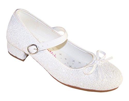 The Sparkle Club Mädchen weiß funkelnd niedriger Absatz besondere anlässe Schuhe - Weiß, EU 33