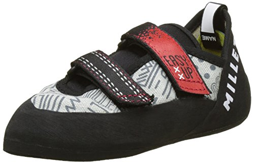 Millet EASY UP JUNIOR, Chaussons d'escalade Escalade, Mixte Enfant - Multicolore (Gris/Rouge/Noir) - 34 EU