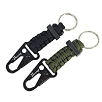 Bcony 2Pcs Paracord Keychains lanyard Key Carabiners Clip with Flint Fire Starter Lighter Magnesium Rod for Camping Hiking Survival Outdoor,Black Green