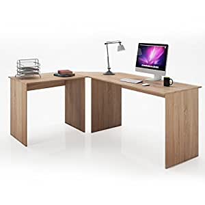 serina angle bureau bureau bureau table ordinateur pc table bureau d 39 angle ch ne sonoma amazon. Black Bedroom Furniture Sets. Home Design Ideas
