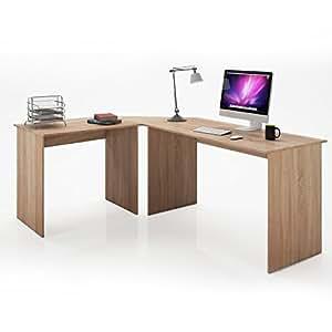 serina angle bureau bureau bureau table ordinateur pc table bureau d 39 angle ch ne sonoma amazon. Black Bedroom Furniture Sets. Home Design Ideas