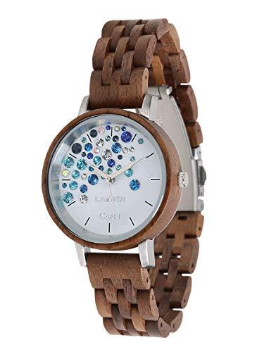 LAiMER Orologio da polso per donna CAPRI WALNUT - orologio al quarzo in legno noce e quadrante con cristalli Swarovski