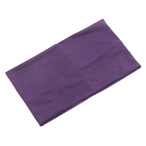 Stirnband,Oyedens Frauen arbeiten Süßigkeitfarbe breite Yoga Stirnband Stretch-Haarband Turban elastische Haarbänder (Lila) (Breites Lila Band)