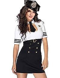 r-dessous hochwertiges Damen Polizei Polizistin Cop Kostüm Uniform für Mottoparty Halloween Karneval Fasching