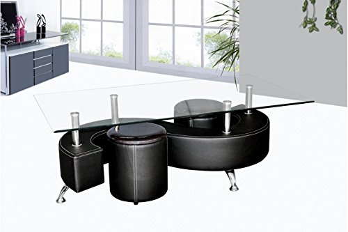 TABLE BASSE DESIGN SIMILI CUIR NOIR WENDY AVEC 2 ASSISES