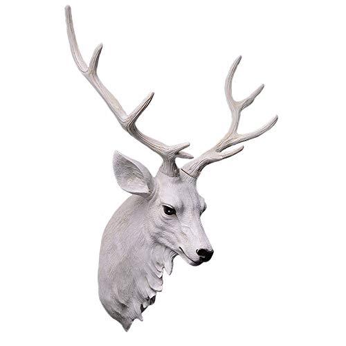XIANGZHI Cabeza De Animal Decoración De La Pared Simulación Retro Arte Decoración Resina Cabeza De Ciervo Cabeza De Ciervo Artificial Medio Cuerpo Cabeza De Ciervo Colgando Pared (Color : White)
