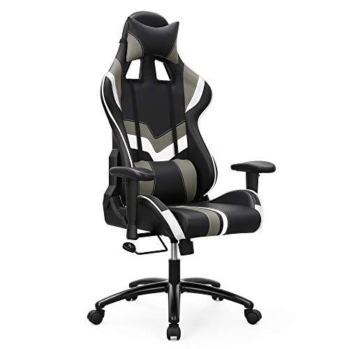 SONGMICS Bürostuhl Gaming Stuhl Chefsessel mit Armlehnen, inklusiv Kopfkissen und Lendenkissen, schwarz Weiß RCG27BW