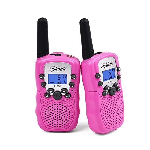 Tyhbelle T388 Walkie Talkie Set, Kinder 2 x Funkgeräte PMR446 lizenzfrei 8 Kanäle Funkgerät mit LCD-Display und Lampe VOX-Funktion Walky Talky Ideal für Geschenk (2er-Rosa) Mm Lcd