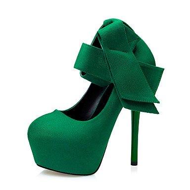 Moda Donna Sandali Sexy donna tacchi tacchi inverno / Round Toe abito scamosciato Stiletto Heel Bowknot nero / verde / rosso / grigio a piedi Black