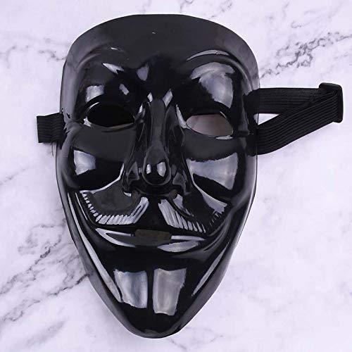 dhude PVC Öko-freundliche Hip-hop-Schwarze V-wortmaske Blutige Gesicht Horror Halloween-tänzer Maske Eine Kaltes Licht, kein Blut, V-Wort. (Worte Blutige Halloween)