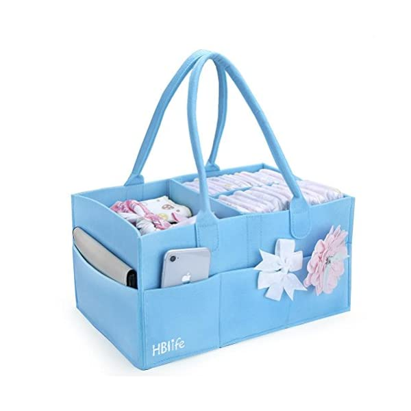 HBlife Baby Diaper Caddy Portable Nappy Organiser Felt Basket with Changeable Compartments 2