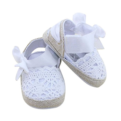 Kolylong Baby Summer Infant Toddler Princess First Walkers Shoes Bow Shoes Sandals (0~6 Month, White)