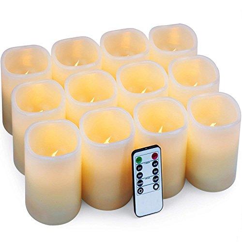 Velas eléctricas Velas pilar Paquete de 12 velas LED (D: 7.5cm X H: 10cm) Velas de cera real Velas con pilas con control remoto y temporizador para las iglesias Fiestas de