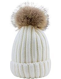 Sunbeter de punto Sunbeter Winter Children Sombrero Beanie Warm lindo con pompones de piel para niños en forma de 1-5 años