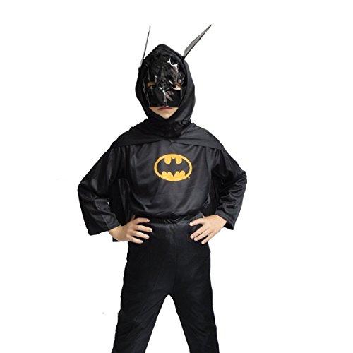 Inception Pro Infinite Größe S - 3 - 4 Jahre - Kostüm - Verkleidung - Karneval - Halloween - Bat Man - Super Hero - Schwarze Farbe - Kinder - Batman