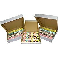 10x 24Cupcake resistente color blanco caja de cartón para cupcakes con 6m Agujero separador