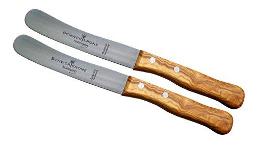 Schwertkrone Solingen 2 Buckelsmesser Buttermesser aus Olivenholz/Premiumqualität aus Solinger...