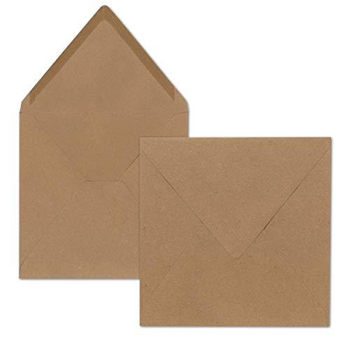 Quadratische Brief-Umschläge ohne Fenster in Sandbraun | 75 Stück | 155 x 155 mm | Nassklebung | Für Hochzeits-Karten, Einladungskarten und mehr | Serie FarbenFroh®