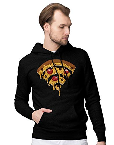 BLAK TEE Funny Pizza Wi Fi Illustration Unisex Pullover Hoodie M (Dominos Pizza Bekleidung)