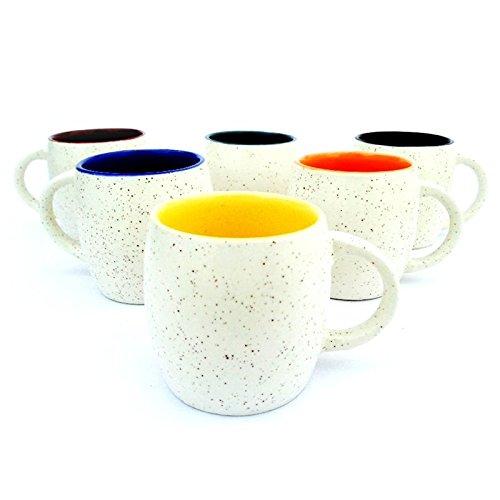 MPU Value Mart Marble Finish Tabla Shape Tea Cups, 130 ml, Set of 6 Pieces, Multicolour