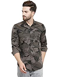 Pacman Slim Fit Cotton Army Print Mens Casual Shirt SHFS0045