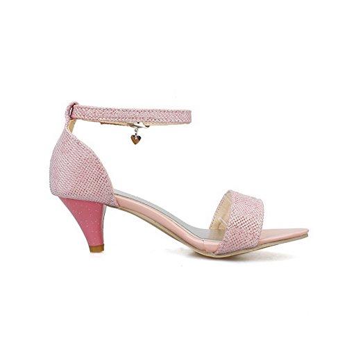 VogueZone009 Damen Weiches Material Offener Zehe Mittler Absatz Schnalle Rein Sandalen Pink