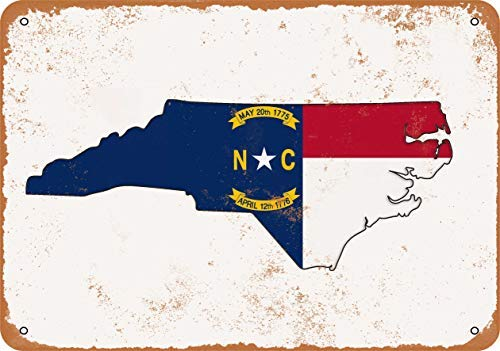 Iron Painting Signs Home Decor 8 X 12 Metal Sign North Carolina State Flag Design Vintage Look