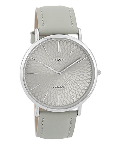 Oozoo Vintage Damenuhr Lederband 40 MM Silbergrau/Grau C9333