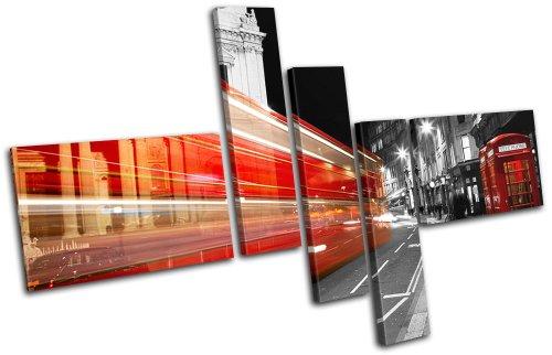 Bold Bloc Design - London Bus Red City - 225x150cm Leinwand Kunstdruck Box gerahmte Bild Wand hängen - handgefertigt In Großbritannien - gerahmt und bereit zum Aufhängen - Canvas Art Print (Bus 225)