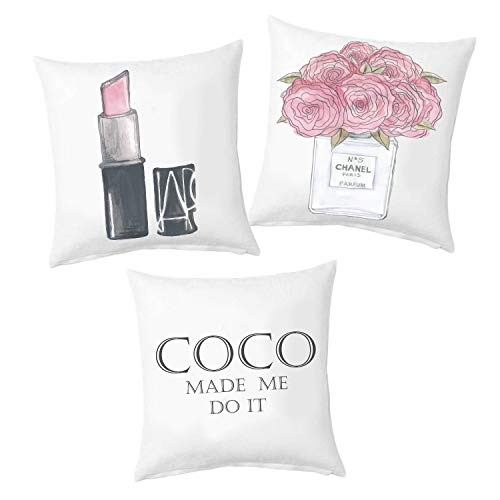 ZonaloDutt Chanel Lot de 3 taies d'oreiller parfumées Chanel Paris Coco Made Me Do It Cadeau pour Ell