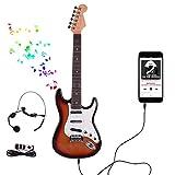 ANNA SHOP Guitare Enfant, Set Guitare Electrique 6 Cordes avec Microphone Cadeau de Noël Anniversaire Instrument Musical Envoyer Un ami pour Enfant Ados pour 5-20 Ans
