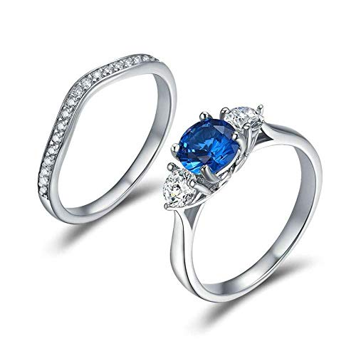 J-Z Fashionring Elegante Silber Farbe Blau Dreamland Clear Cz Kristall Geometrische Ringe für Frauen Hochzeit Engagement Schmuck, Ring, 7 - Cz Alle Ringe Herren