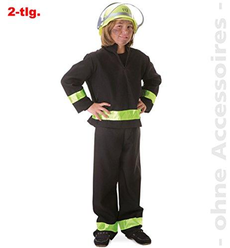 Kostüm Fighter - Faschingskostüm Feuerwehrmann schwarz, deutscher Fire Fighter, Kostüm für Karneval, Fasching, Spiel (98) (98)