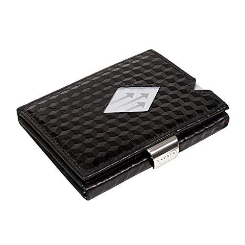 Esta elegante y original billetera Exentri® hecha de auténtico cuero negro de alta calidad es probablemente la billetera más compacta del mercado.Tiene un innovador diseño que pone las tarjetas usadas con más frecuencia a su alcance sin tener que...