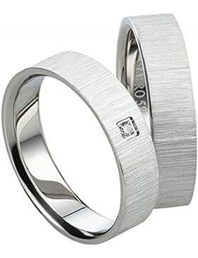 Eheringe Partnerringe Edelstahlringe mit Diamant AB1032-1007 mit Diamant Verlobungsringe inkl. Gravur