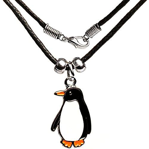 Kette -  lustiger Pinguin  - für Kinder & Erwachsene - Schmuck / Anhänger aus Metall - Tieranhänger - Edelstahl / Metall - Sterlingsilber / Silber - schwarz.. ()