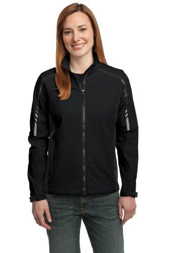 Cadet Kragen Jacke (Port Authority Damen Cadet Kragen Passform Jacke Gr. M, Schwarz - Black/Deep Grey)