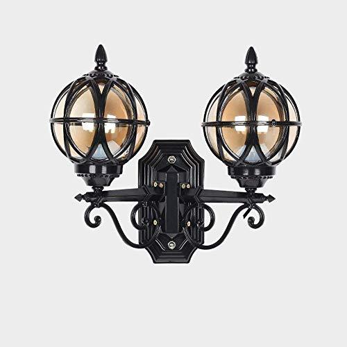 TQ Modeen Outdoor 2-Lichter Glas Laterne Wand Lampe Outdoor Doppel-Scheinwerfer Tradition Continental Victorian Patio Garden Villa Balkon E27 Dekoration Wandlicht,Black -
