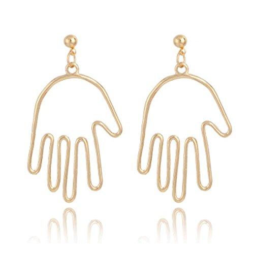 Schmuck DAY.LIN Mode Frau Finger Ohrringe Metalllegierung Vintage Gesicht Look aushöhlen Ohrringe (Gold)