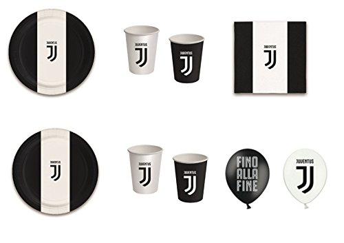 coordonné Sport Football Juventus F.C. pour anniversaire événements décorations table Fête - Kit N ° 14 CDC- (32, 32 verres, 40 assiettes 40 serviettes, 12 ballons)