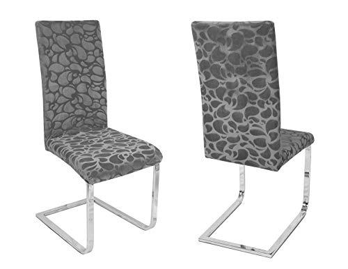 Beautex 2er Set Stuhlhussen, elastische Stretch Hussen Bi-Elastic, Motiv und Farbe wählbar (Motiv Maya-Clean, Farbe Grau)