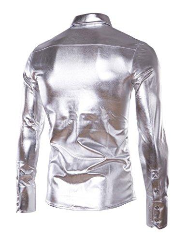 Idopy Herren Trend Nightclub Silber Beschichtung Metallic Button Down Shirts Silber