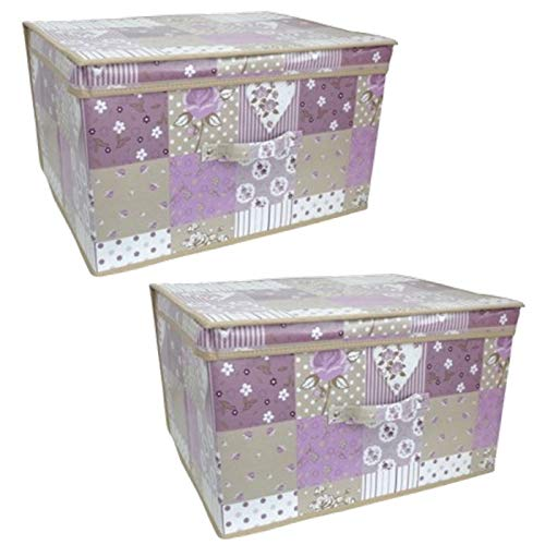 Country Club Jumbo Zusammenklappbar Pastell Patchworks Kinder Raum für Spielzeug Aufbewahrungsbox Truhe Trunk & Deckel, Plastik, Multi, 2er-Set (Pastell-aufbewahrungsbox)