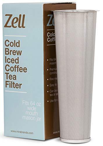 Kaltbrau-Kaffeemaschine, Eiskaffee- und Teebereiter für Einmachgläser, langlebig, feinmaschiger Edelstahl-Kaffeemaschinenfilter 64 oz (2 quart) -