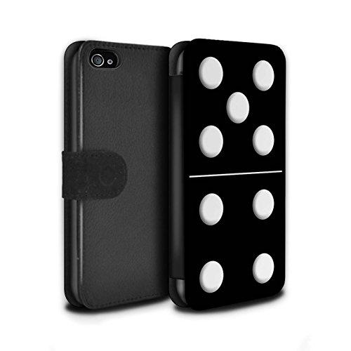 Stuff4 Coque/Etui/Housse Cuir PU Case/Cover pour Apple iPhone 4/4S / Tuile Blanc 5/1 Design / Domino/Dominos Collection Tuile Noir 5/4